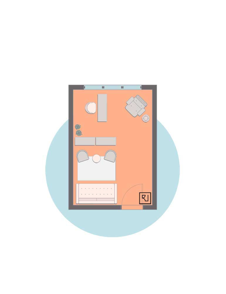 rectangular home office plan and seperator
